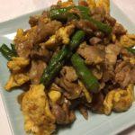 豚こまと卵とアスパラのカレーマヨ炒め☆コストコ・レシピ